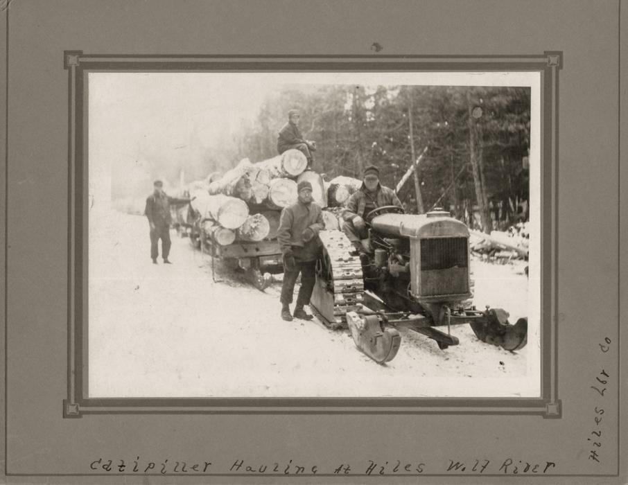 3-Hiles-Lumber-Co.-hauling-logs-with-a-catipillar-near-Wolf-River